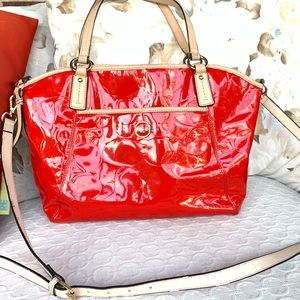 Coach Red Patent Embossed Large Satchel Bag